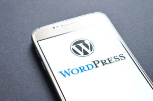 Wordpress on a smart phone screen.