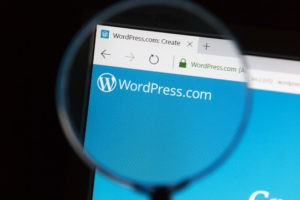 Wordpress official website under magnifying glass.