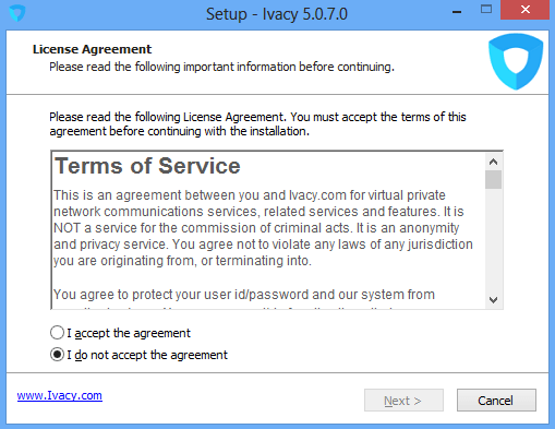 Ivacy Installation Setup, Terms of Service Screen
