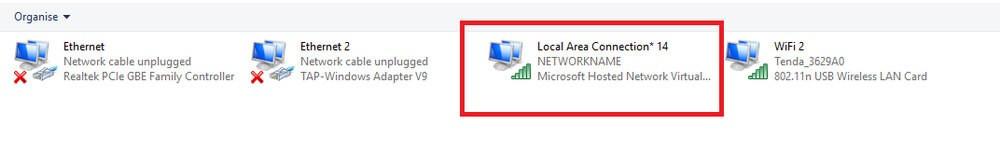 Microsoft Hosted Network Virtual Adapter  screenshot
