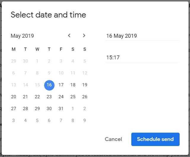 Schedule Send Options - Manual Date Time selection