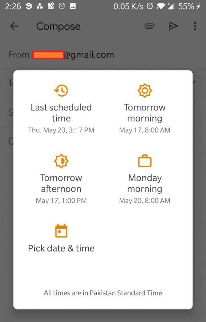 Schedule Send Options Mobile