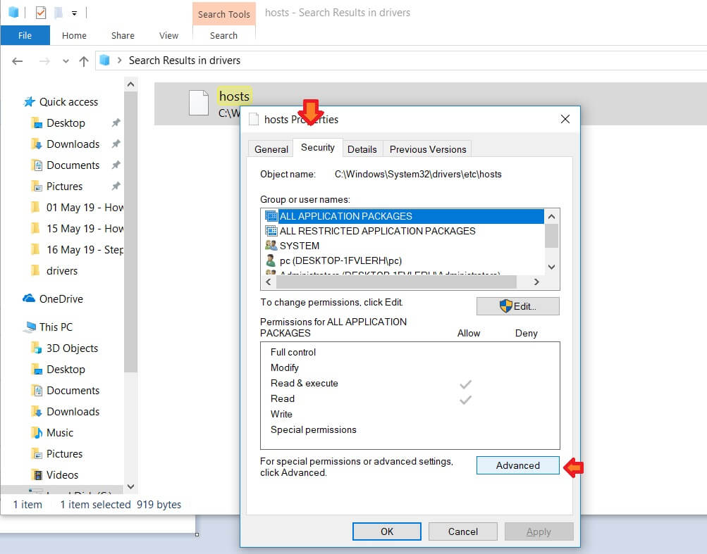 hosts Properties Security tab and Advanced settings