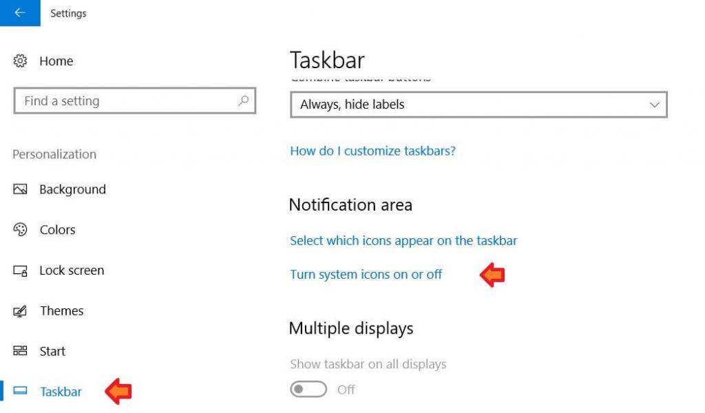 Taskbar options - Turning on system icons