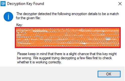 The decryption key found
