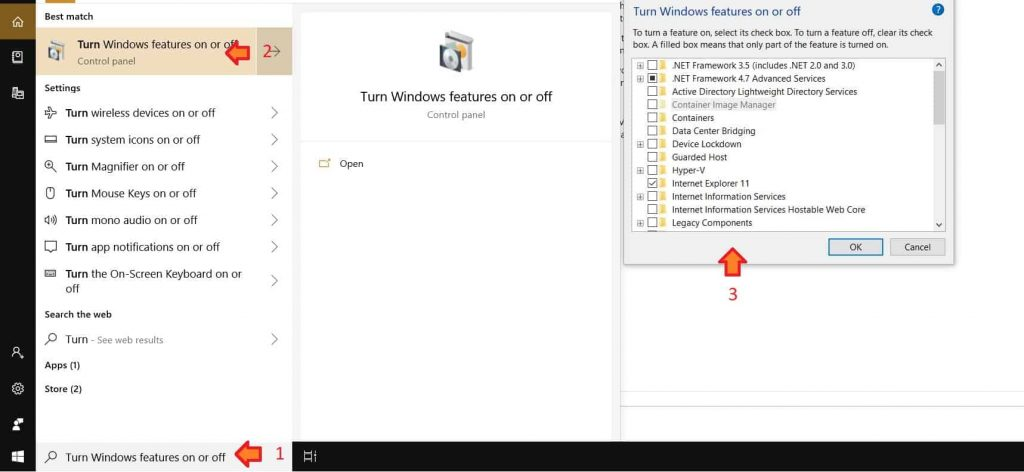 Fig 3 - Opening Turn Windows feature on or off app