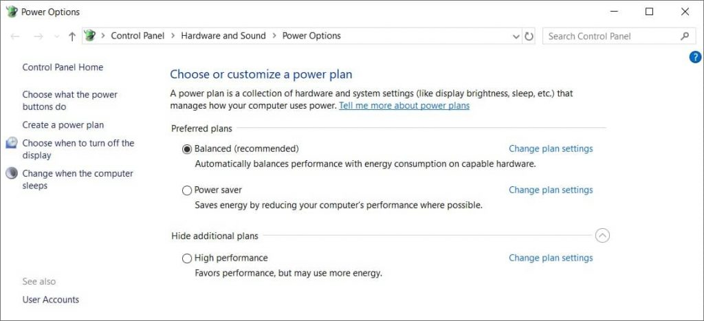 Choose the right power plan