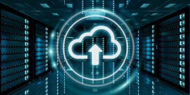 Server room data center with cloud blue icon floating