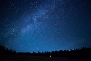 An image featuring night time with a beautiful dark blue sky