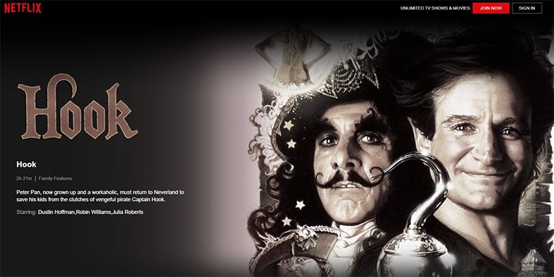An image featuring a screenshot of Hook Netflix movie