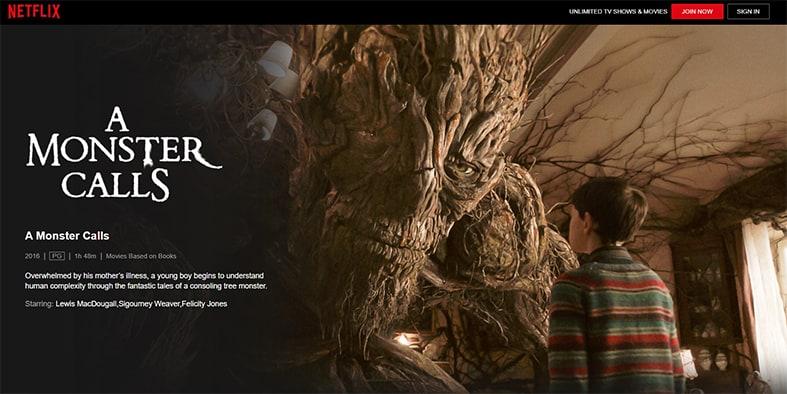 An image featuring a screenshot of A Monster Calls Netflix movie