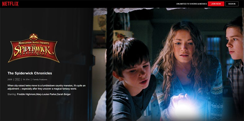An image featuring a screenshot of The Spiderwick Chronicles Netflix movie