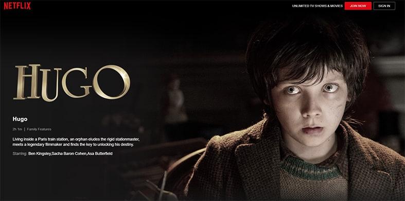 An image featuring a screenshot of Hugo Netflix movie