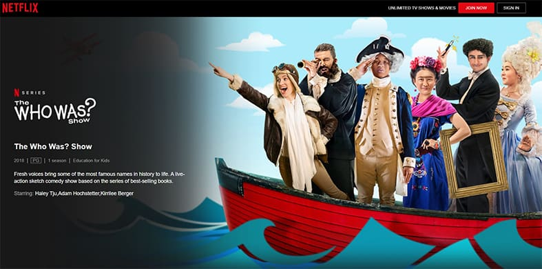 An image featuring a screenshot of The Who Was Netflix show