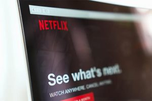 An image featuring a laptop that has opened Netflix representing Netflix concept