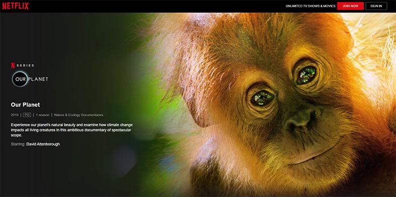 An image featuring a screenshot of Our Planet Netflix show
