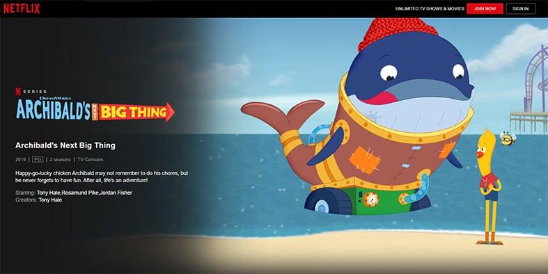 An image featuring a screenshot of Archibald's Next Big Thing Netflix show