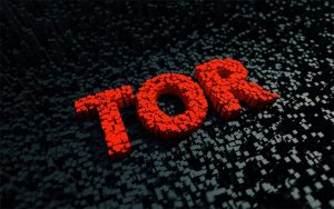An image featuring a red cool text that says Tor representing the Tor browser
