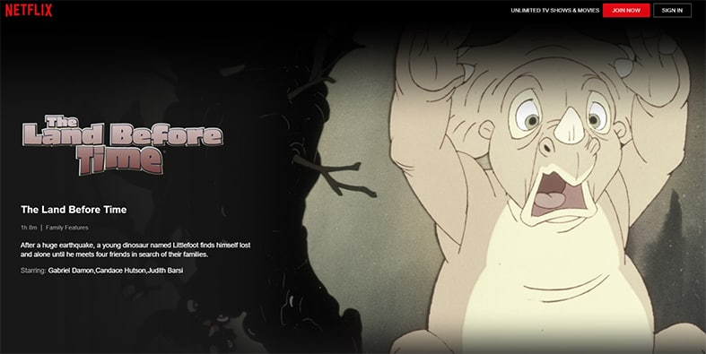 An image featuring a screenshot of The Land Before Time Netflix movie