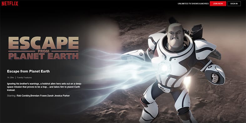 An image featuring a screenshot of Escape From Planet Earth Netflix movie