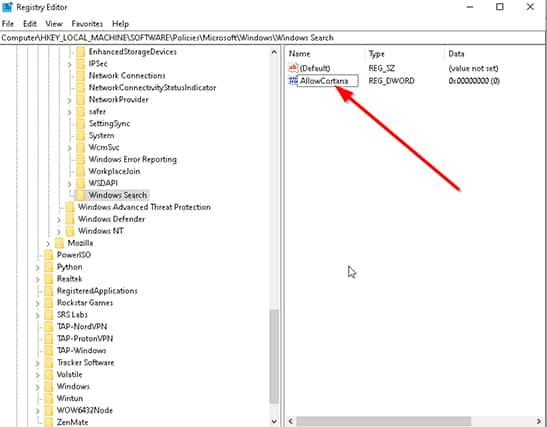 An image featuring How to Disable Cortana Permanently Via Windows Registry step7