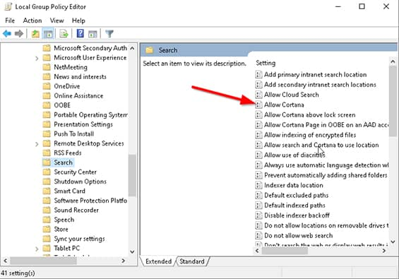 An image featuring Quickest Way to Disable Cortana UI Search Button Via Local Group Policy Editor step7
