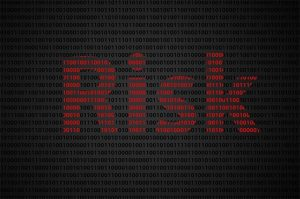 """an image with binary code concept with """"Risk"""" text appear on red binary code"""