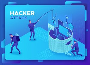 an image with phishing scam, hacker attack, mobile security concept, data protection, cyber crime, 3d isometric vector illustration, fingerprint, smartphone information safety